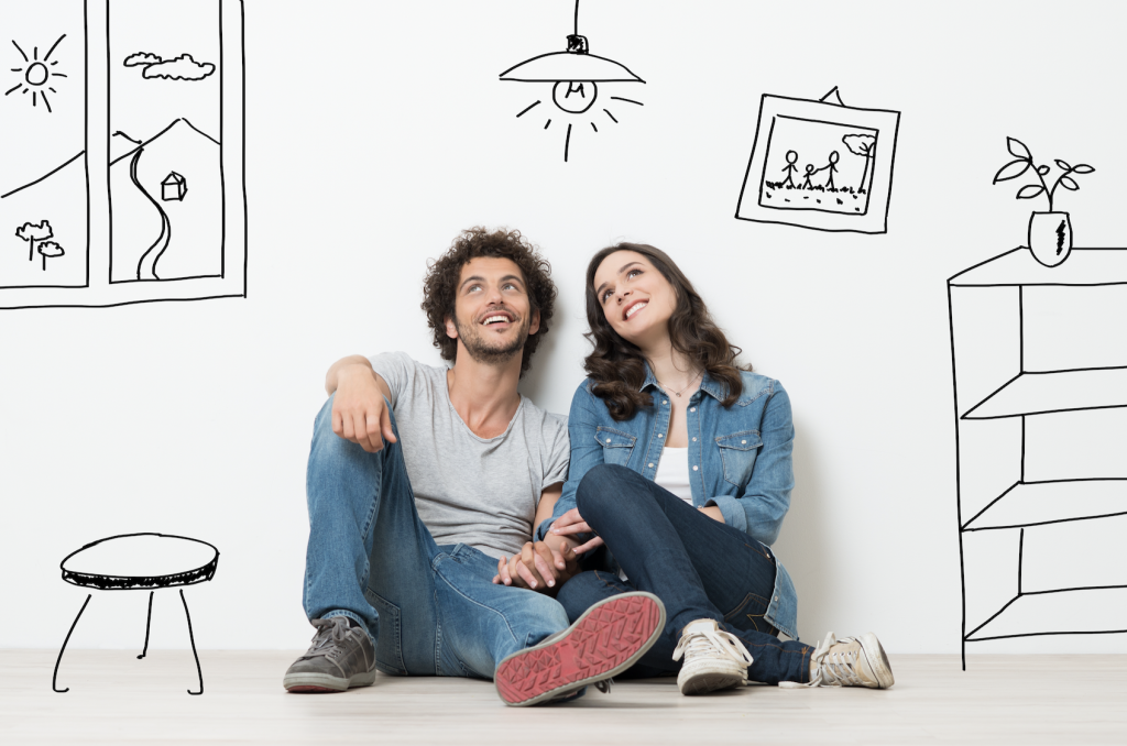 Young Couple Dreaming of buying a home